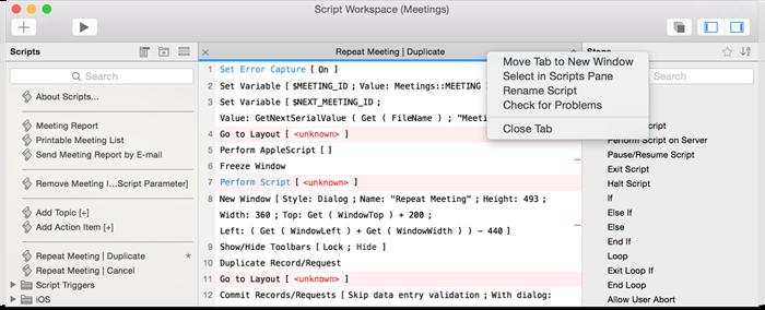 FileMaker 15 script