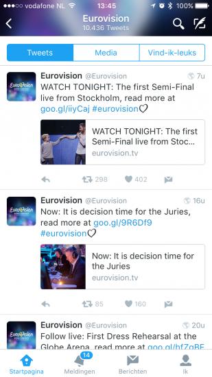 Eurovisie Songfestival op Twitter.