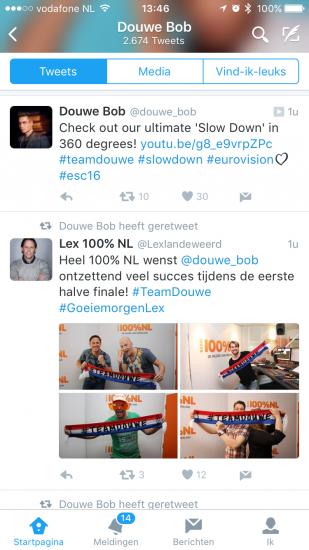Twitter met Eurovisie Songfestival Douwe Bob.