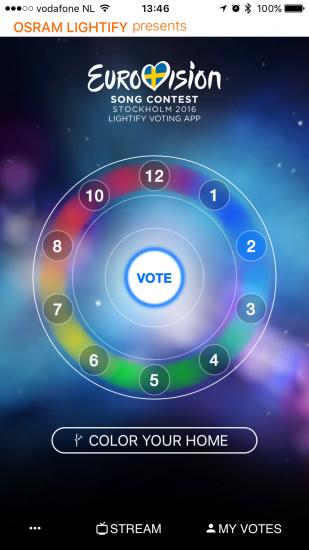 Lightify@ESC voor het Eurovisie Songfestival op de iPhone.
