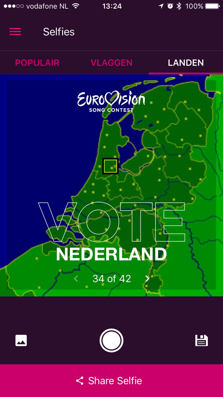Selfiestand van Eurovisie Songfestival-app op de iPhone.