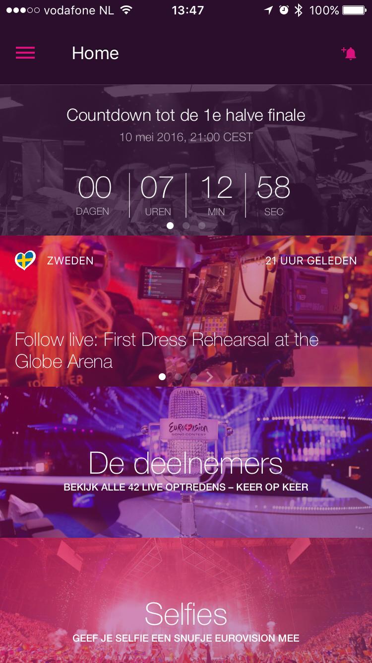 Eurovisie Songfestival-app met beginscherm op de iPhone.