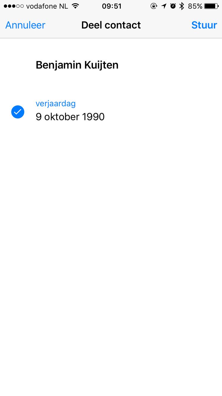 WhatsApp verstuurt contacten met verkeerde verjaardag.