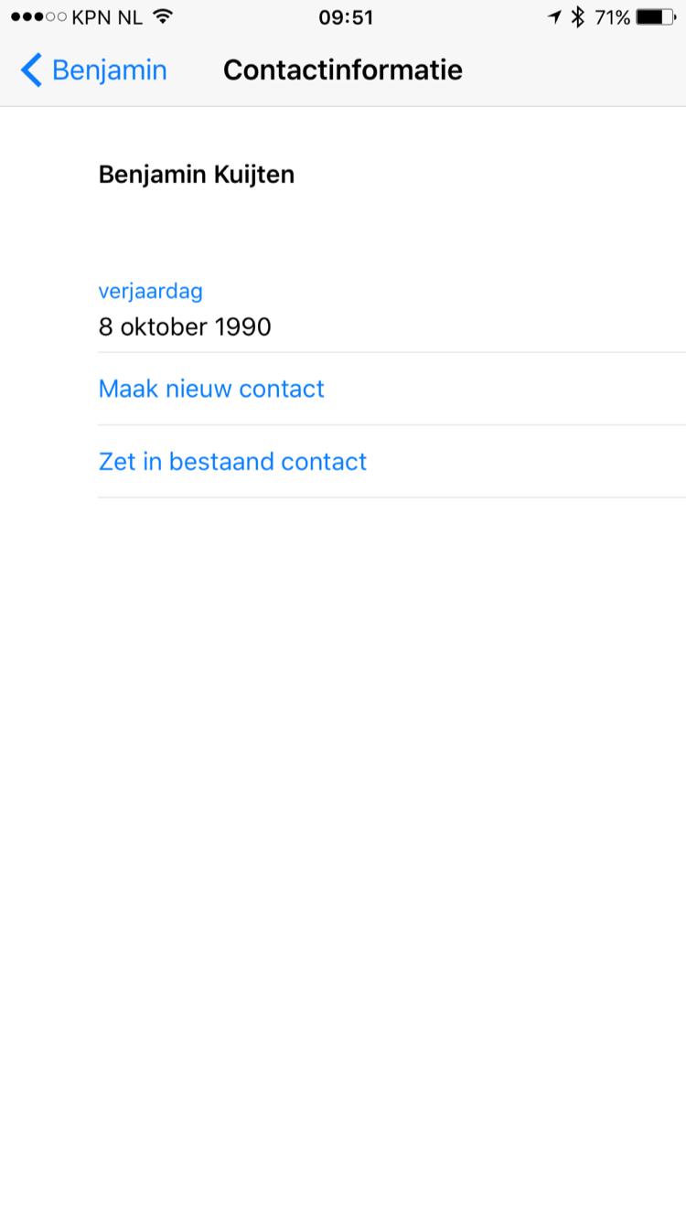 Een ontvangen contact met een verkeerde verjaardag in WhatsApp.