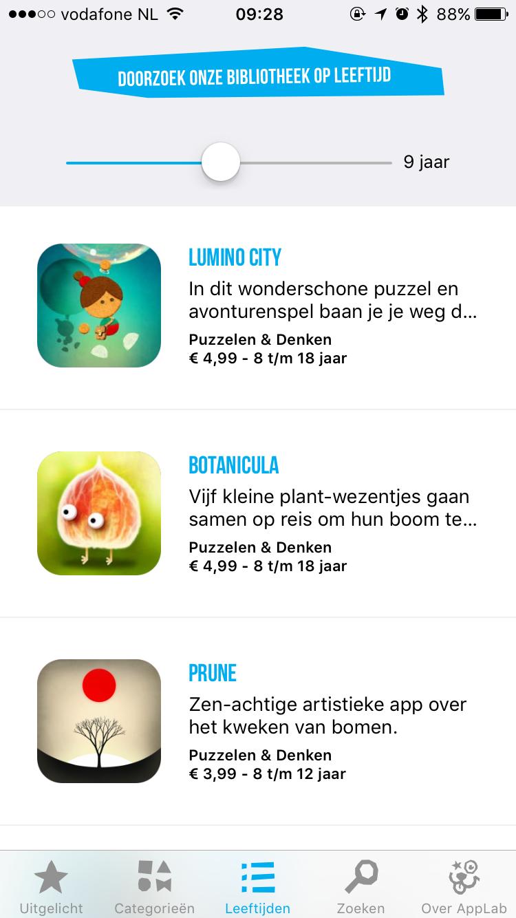 Selecteer apps op leeftijd met Cinekid AppLab op de iPhone.