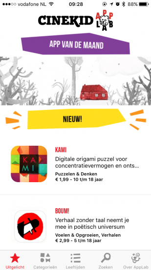 Cinekid AppLab met uitgelichte apps op de iPhone.