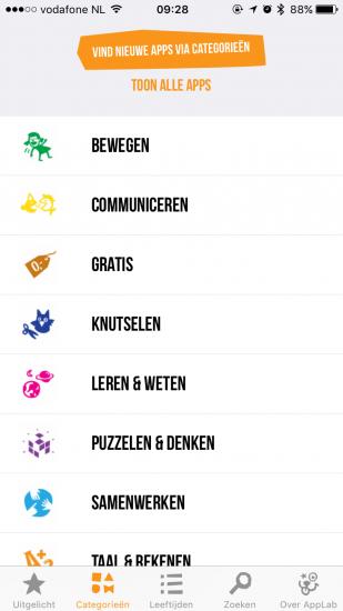 Cinekid AppLab met categorieën op de iPhone.
