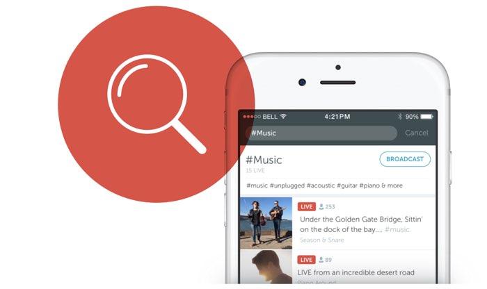 Periscope, zoeken naar hashtags