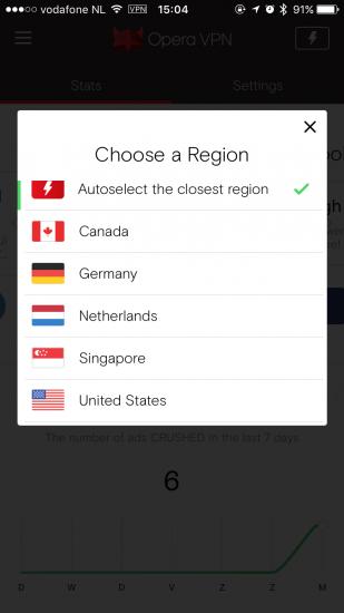 Opera VPN voor de iPhone met het kiezen van een locatie.