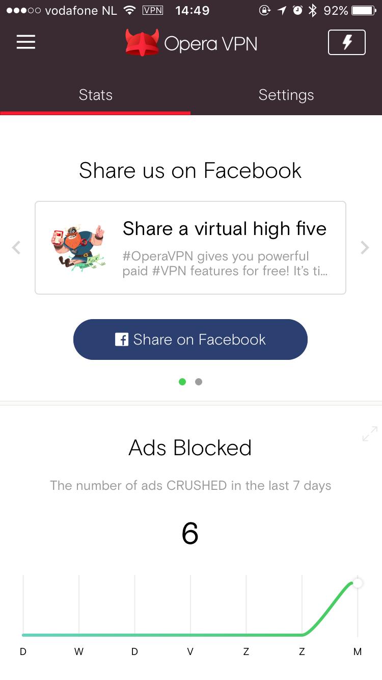 Opera VPN voor de iPhone is een app om veilig mee te internetten.