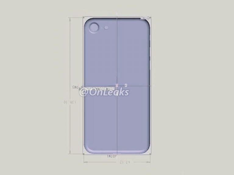 iPhone 7-afmetingen in schematische tekening.