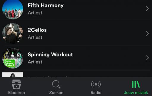 Spotify voor iPhone met nieuwe tabbar in het Nederlands.