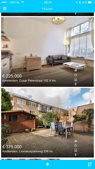 Huisvink op de iPhone: een lijstje met uitgekozen huizen