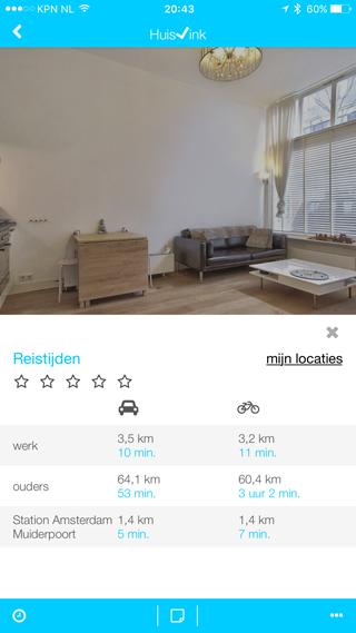 Huisvink: reistijden per woning