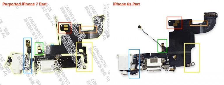 iPhone 7-onderdeel met mogelijke koptelefoonaansluiting.