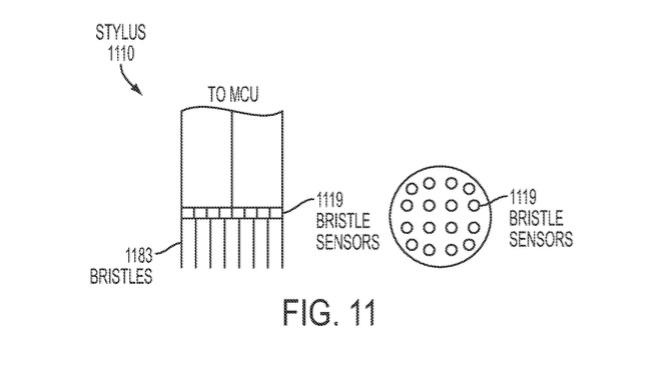 Patent voor Apple Pencil met een kwast als punt.