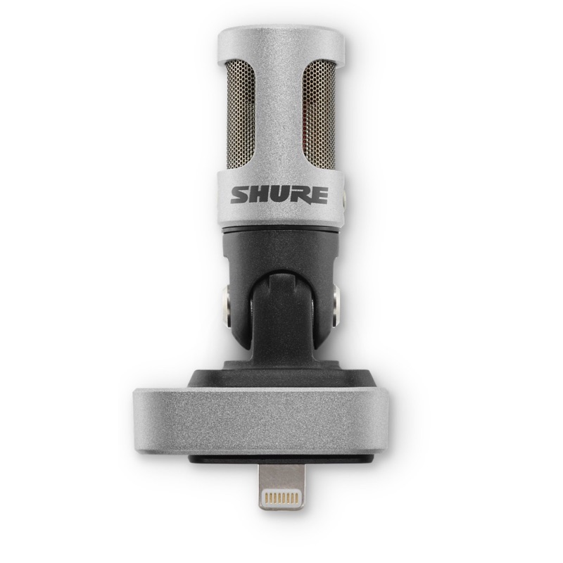 Shure MOTIV MV88-microfoon sluit je aan op de Lightning-aansluiting van iPhone of iPad.