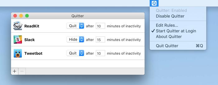 Quitter voor Mac sluit software automatisch af