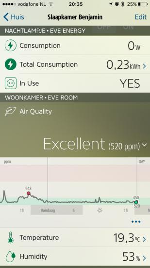 Elgato Eve-app met Eve Room.