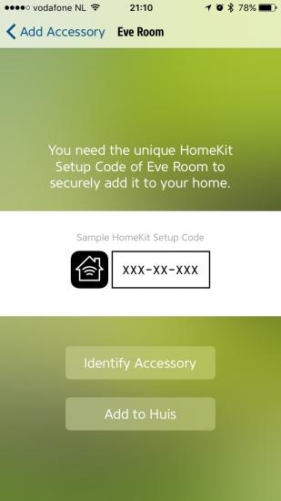 Elgato Eve instellen voor HomeKit.