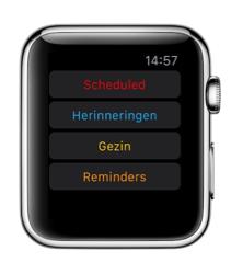 Reminders on Watch voor de Apple Watch met alle lijsten.