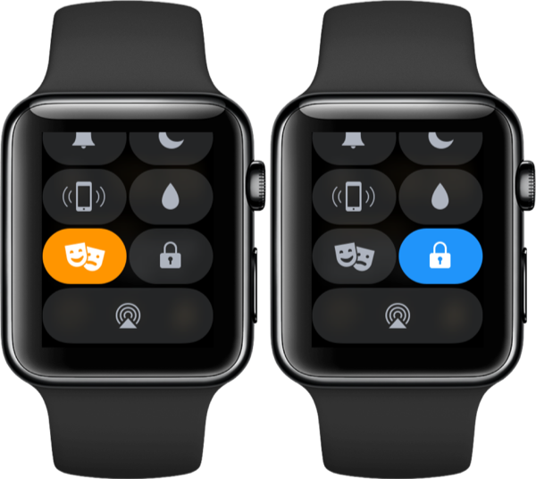 Theaterstand en slot in Bedieningspaneel op de Apple Watch.