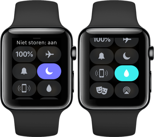 Niet storen en waterslot in Bedieningspaneel op de Apple Watch.
