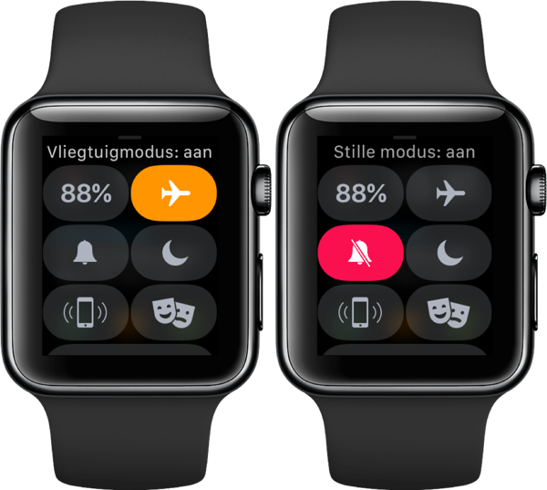Vliegtuigmodus en stille modus in Bedieningspaneel op de Apple Watch.