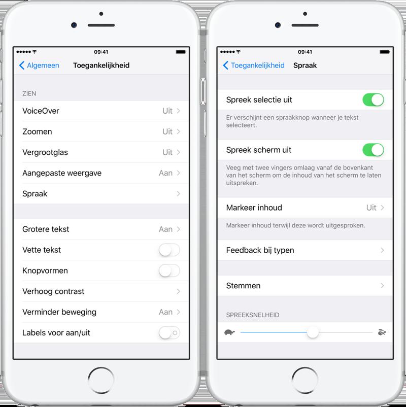 Teksten voorlezen van het iPhone-scherm