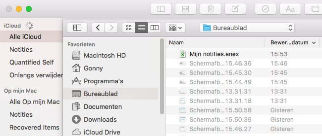 Evernote Notities importeren