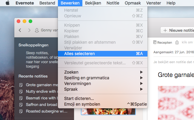 Evernote-notities selecteren