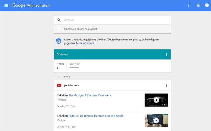 Google Mijn Activiteit