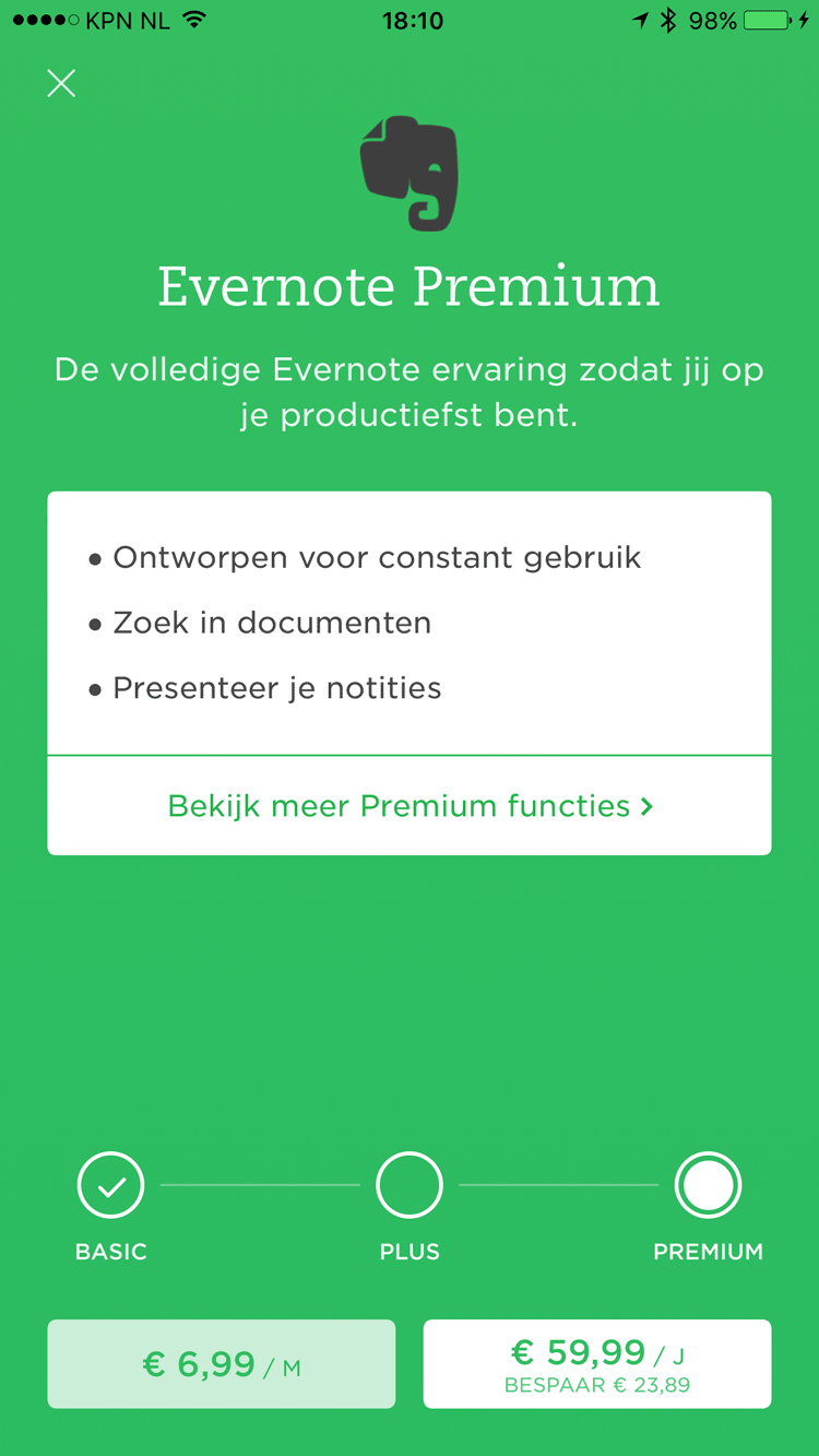 Evernote Premium op de iPhone