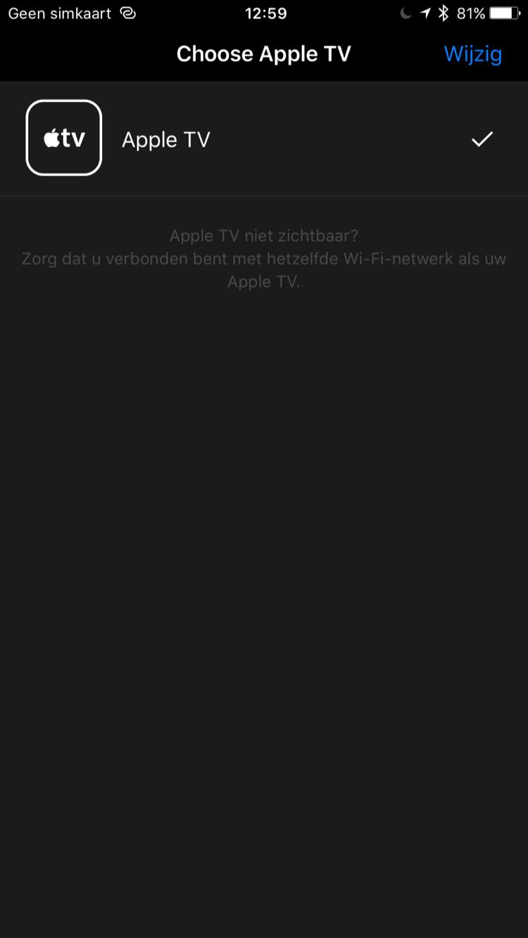 Gekoppelde Apple TV aan Remote-app.