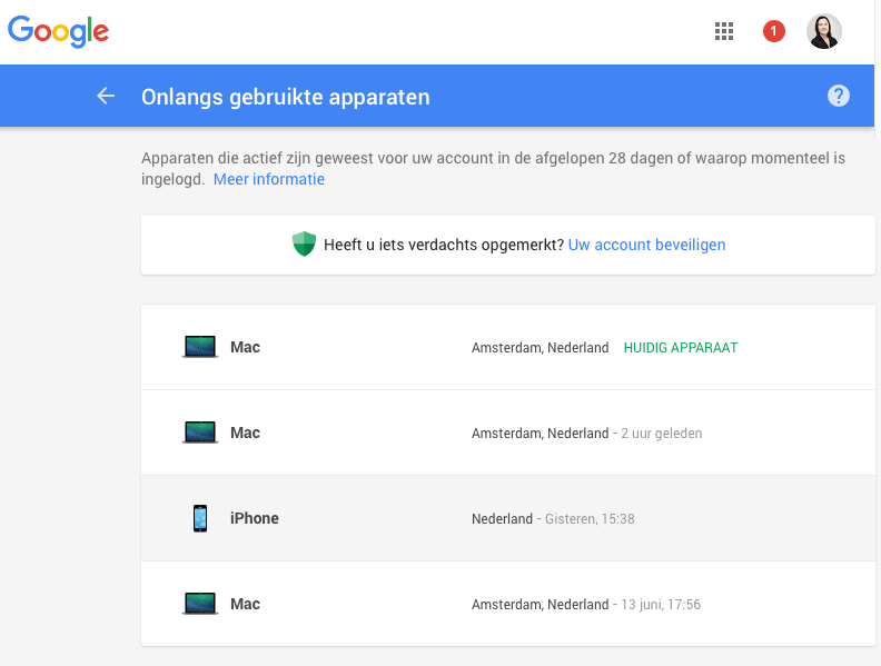 Google: gebruikte apparaten