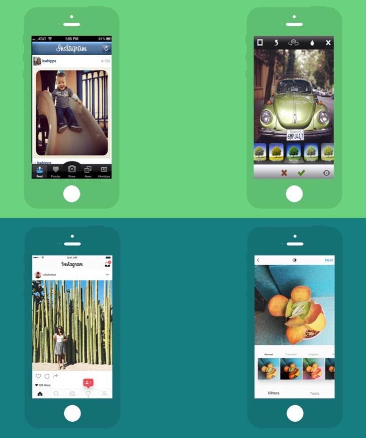 Instagram voor de iPhone in 2011 en 2016.