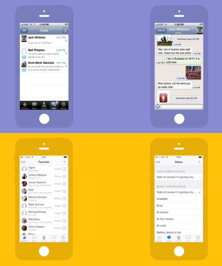 WhatsApp voor de iPhone in 2010 en 2013.