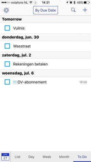 BusyCal met herinneringenlijst op iPhone.