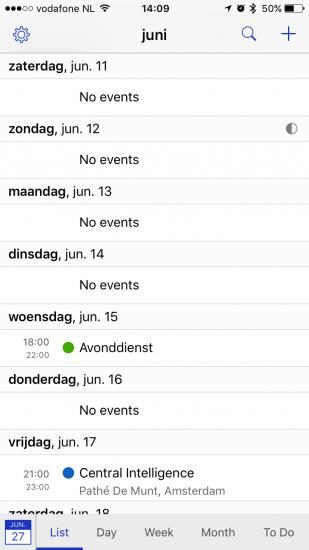Lijstweergave in BusyCal voor iPhone.