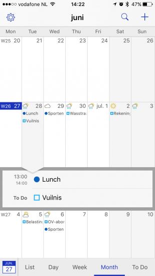 Details van een afspraak in BusyCal voor iPhone.