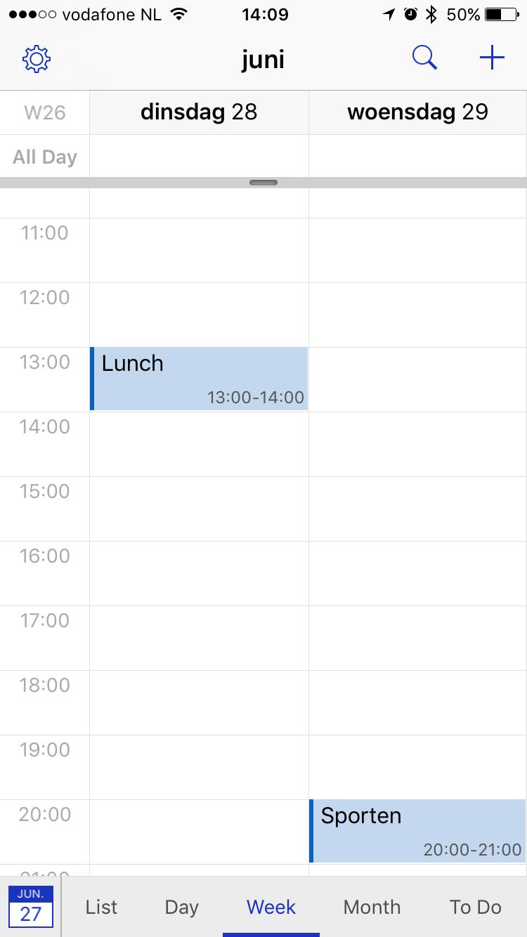 Weekweergave in BusyCal voor iPhone.