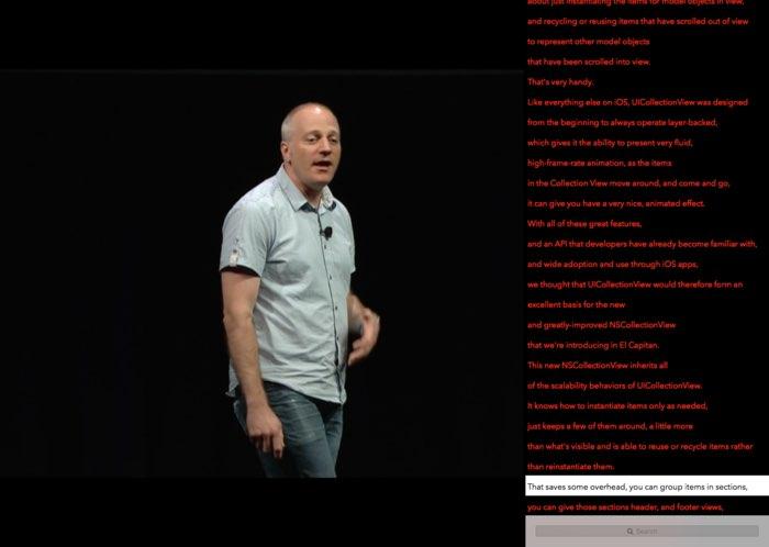 WWDC 2016 transcript app