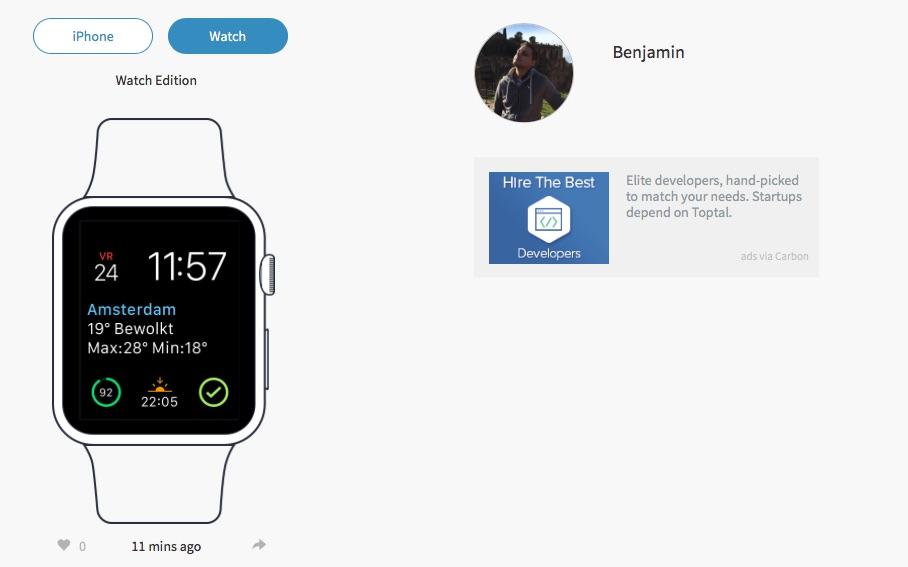 Profiel met Apple Watch op Homescreen.me.