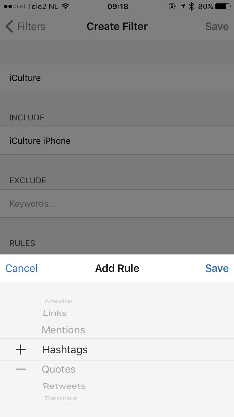 Filter instellen in Tweetbot voor iOS.