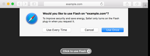 Flash uitgeschakeld in Safari 10
