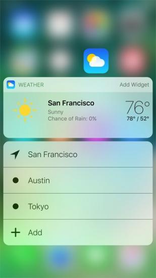 3D Touch in iOS 10 op het beginscherm.