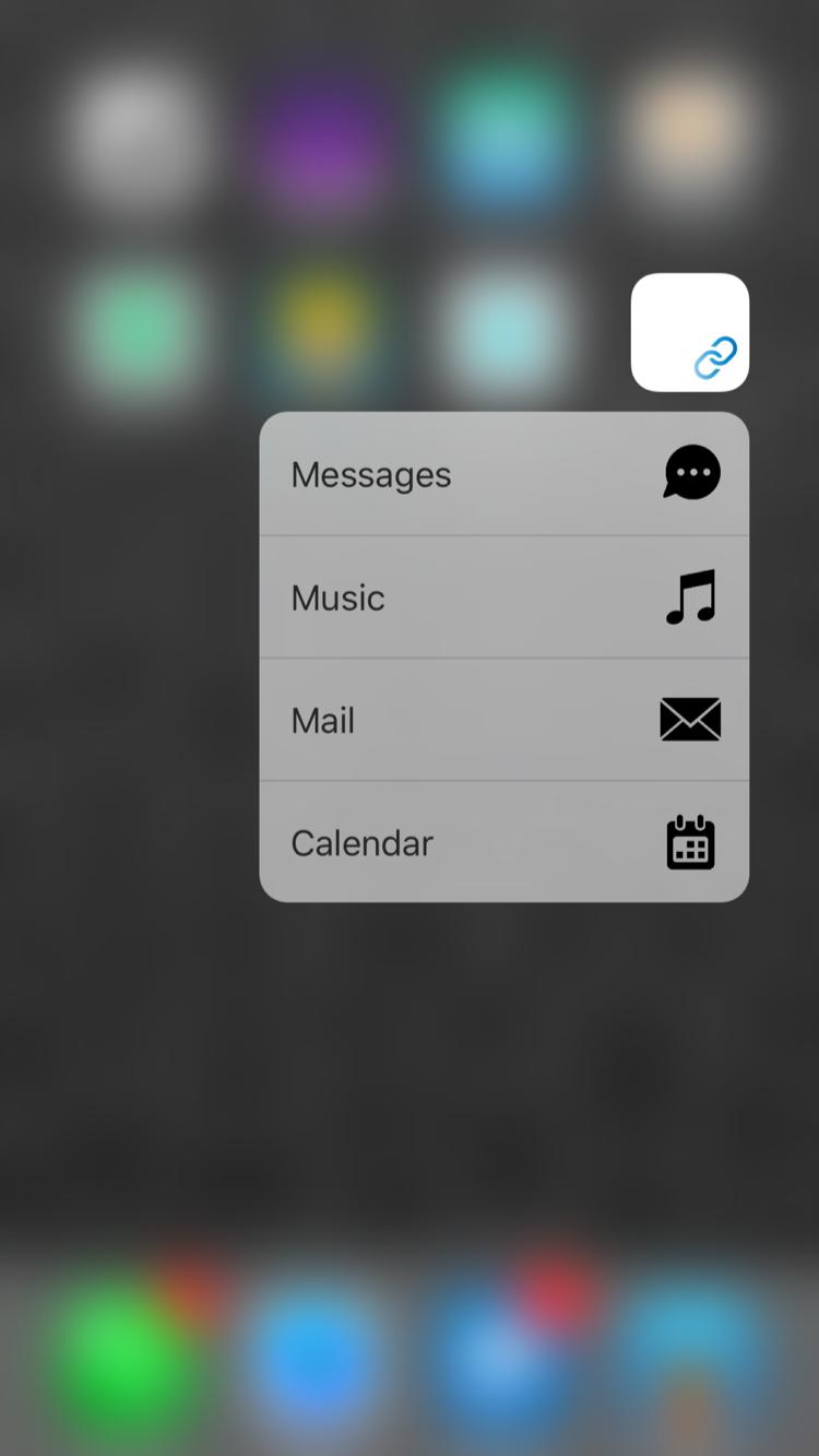 Shortcuts met 3D Touch op iPhone 6s.