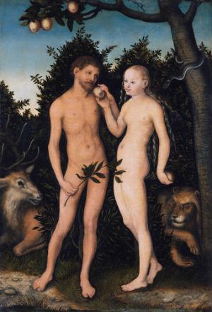 Adam en Eva door Lucas Cranach