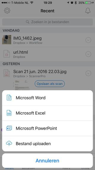 Dropbox: direct Word-, Excel- of PowerPoint-document aanmaken
