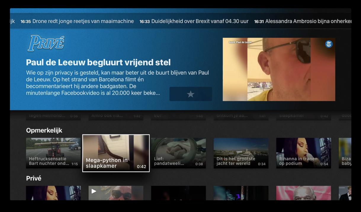 Prive gedeelte van de Telegraaf-app op de Apple TV.
